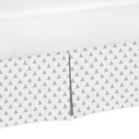 Sweet Jojo Designs Earth and Sky Triangle Print Crib Skirt in Grey/White