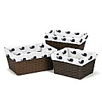 Sweet Jojo Designs Whale Basket Liners in Navy/White (Set of 3)