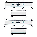 Sweet Jojo Designs Whale Reversible 4-Piece Crib Bumper Set in Navy/White