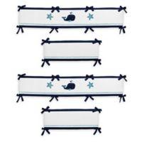 Sweet Jojo Designs Whale Reversible 4-Piece Crib Bumper Set in Navy/White