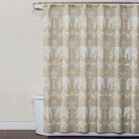 Saturday Knight Elephant Walk Shower Curtain in Natural