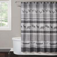 Saturday Knight Wilderness Calling Shower Curtain in Grey