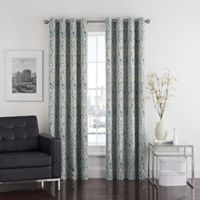 Twilight Ikat 95-Inch Grommet Room-Darkening Window Curtain Panel in Spa