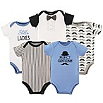 Hudson Baby® Size 6-9M 5-Pack Gentleman Bodysuits in Blue/Black