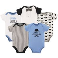 Hudson Baby® Size 9-12M 5-Pack Gentleman Bodysuits in Blue/Black