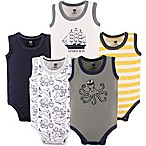 Hudson Baby® Size 3-6M 5-Pack Sea Sleeveless Bodysuits in Blue
