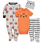 Gerber® Size 0-3M 4-Piece Tiger Footie, Bodysuit, Pant, and Hat Set in Orange/Grey