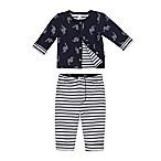 Petit Lem™ Newborn 2-Piece Dino Dot Reversible Cardigan and Legging Pant Set in Navy