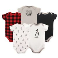 Hudson Baby® Size 12-18M 5-Pack Penguin Hanging Bodysuits in Red