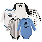 Hudson Baby® Size 9-12M 5-Pack Gentleman Long Sleeve Bodysuits in Blue/White