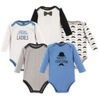 Hudson Baby® Size 18-24M 5-Pack Gentleman Long Sleeve Bodysuits in Blue/White