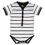 Troy James Size 0-3M Henley Striped Bodysuit in Ivory/Black