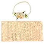 Tiny Treasures 2-Piece Newborn Wrap and Headband Box Set in Peach