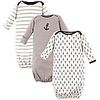 Luvable Friends® Size 0-6M 3-Pack Nautical Gowns in Grey