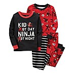carter's® Size 6M 4-Piece  Kid By Day Ninja By Night  Snug-Fit Pajama Set in Black/Red