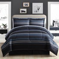 Soho Stripe 8-Piece Full Comforter Set in Black/Blue