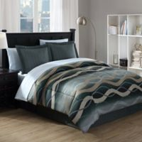 Convergence 6-Piece Full Comforter Set in Black/Gold
