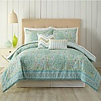 Indigo Bazaar Stamped Indian Floral Queen Comforter Set in Aqua