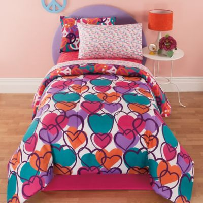 Kidz Mix Leeanne 6 Piece Reversible Twin Comforter Set In Fuchsia