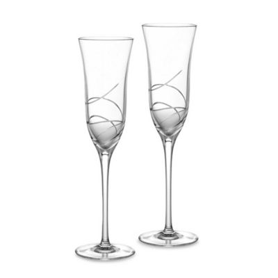 Waterford Ballet Ribbon Essence Crystal Champagne Flutes Set Of 2