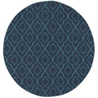 Cabana Bay Seaside 7'10 Round Indoor/Outdoor Area Rug in Navy