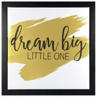 "Linden Ave ""Dream Big Little One"" 12-Inch Square Framed Wall Art in Black/Gold"