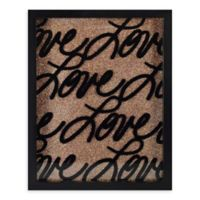 Linden Ave 8-Inch x 10-Inch Love Rose Gold Glitter Framed Artwork