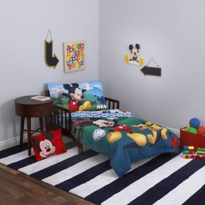 disney mickey mouse playhouse 4 piece toddler bedding set - Mickey Mouse Bedding
