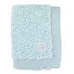Cuddle Me Crushed Plush and Velboa Blanket with Satin Border in Aqua