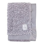 Cuddle Me Crushed Plush and Velboa Blanket with Satin Border in Grey