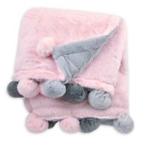 Just Born® Pom-Pom Plush Blanket in Pink