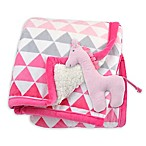 Just Born® Triangle Print Plush Blanket in Pink