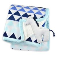 Just Born® Triangle Print Plush Blanket in Blue