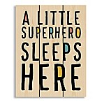 "Designs Direct ""Superhero Sleeps Here"" 10.5-Inch x 14-Inch Pallet Wood Wall Art"