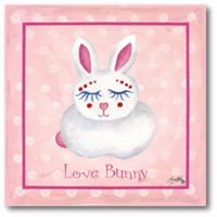 """Courtside Market """"Love Bunny"""" 16-Inch Square Canvas Wall Art in Pink"""