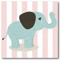 Courtside Market Happy Baby Animals I Elephant 16-Inch Square Canvas Wall Art in Pink/Blue