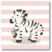 Courtside Market Happy Baby Animals II Zebra 16-Inch Square Canvas Wall Art in Pink