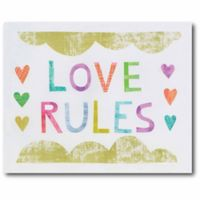"Courtside Market ""Love Rules"" 16-Inch x 20-Inch Canvas Wall Art"