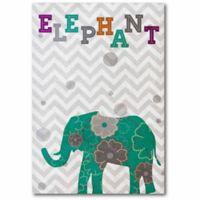 Courtside Market Emerald Elephant 26-Inch x 18-Inch Canvas Wall Art