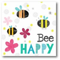 """Courtside Market """"Bee Happy"""" 16-Inch Square Canvas Wall Art"""