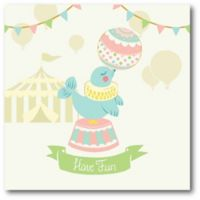 """Courtside Market Birdy Little Circus Seal """"Be Happy""""16-Inch Square Canvas Wall Art"""