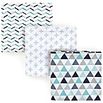 Luvable Friends® Geometric 3-Pack Flannel Receiving Blankets in Blue