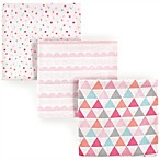 Luvable Friends® Geometric 3-Pack Flannel Receiving Blankets in Pink