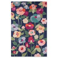 Momeni Newport Floral 2' x 3' Accent Rug in Navy