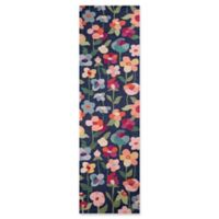 Momeni Newport Floral 2'3 x 8' Runner in Navy