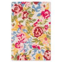 Surya Technicolor Floral 2' x 3' Accent Rug in Pale Pink