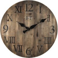 FirsTime® Rustic Barnwood Round Wall Clock