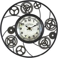 FirsTime® Gears Wire Round Wall Clock in Brown/Black