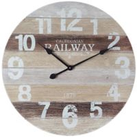 Infinity Instruments 23.5-Inch Antique Railway Wall Clock in White