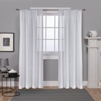 Belgian Foil 84-Inch Rod Pocket Window Curtain Panel Pair in White